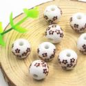 Beads, Porcelain, Brown , White , Round shape, 12.5mm x 12.5mm x 11mm, 1 bead [Sold Individually], [TCZ0034]